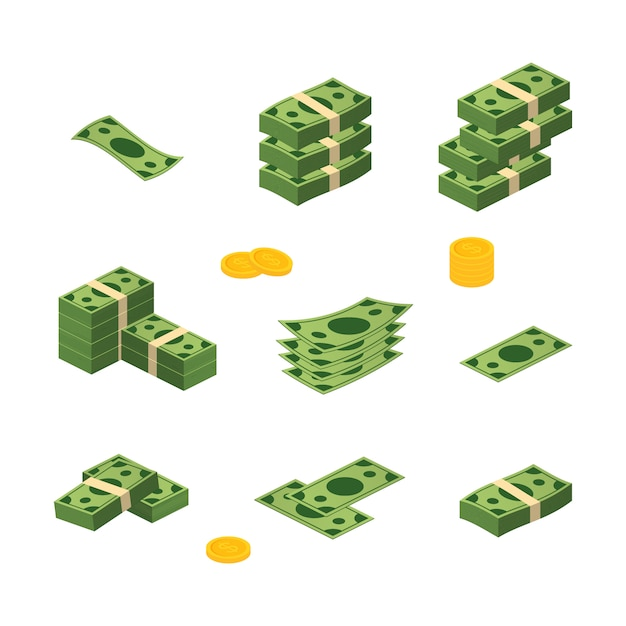 Verschiedener geldscheindollarbargeldpapierbanknoten-vektorsatz. geld bargeld haufen Premium Vektoren