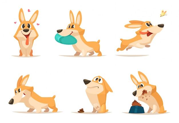Verschiedener lustiger kleiner hund in den aktionshaltungen Premium Vektoren