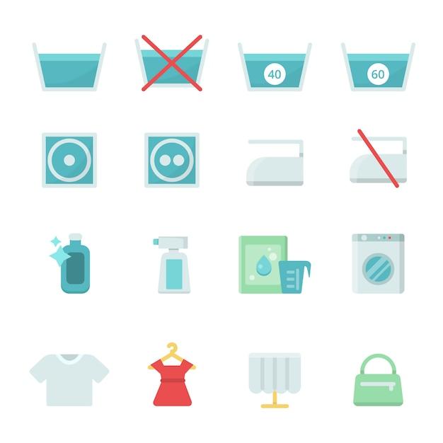 Verschiedenes waschendes ikonenset Premium Vektoren