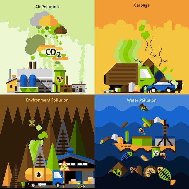 Verschmutzungs-design-set Kostenlosen Vektoren