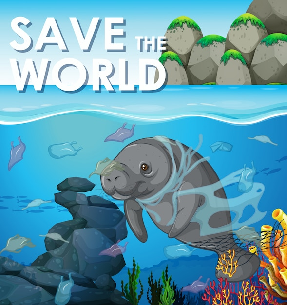 Verschmutzungsbekämpfungsszene mit dem manatis unterwasser Kostenlosen Vektoren