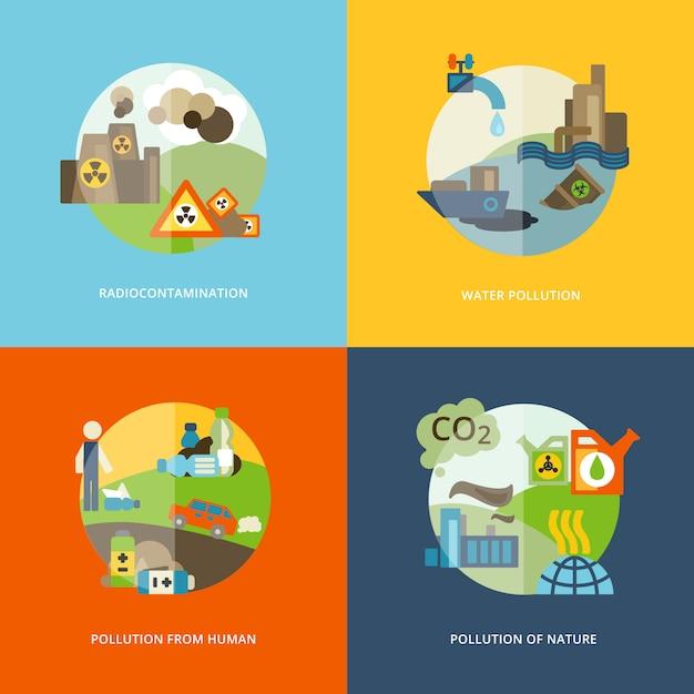 Verschmutzungselementillustrationen flach Premium Vektoren