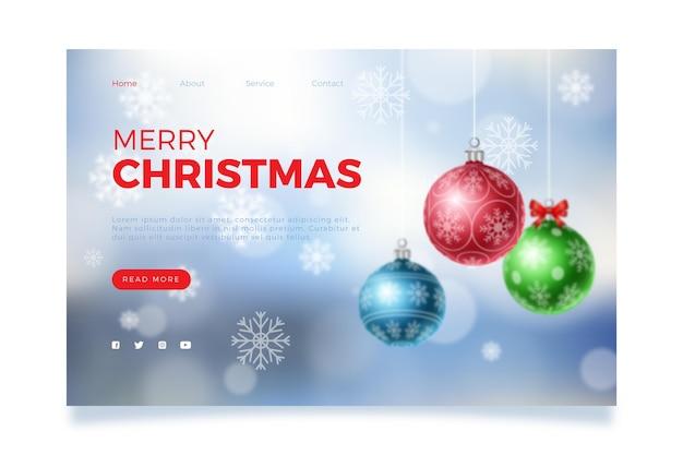 Verschwommene weihnachtslandingpage-vorlage Kostenlosen Vektoren