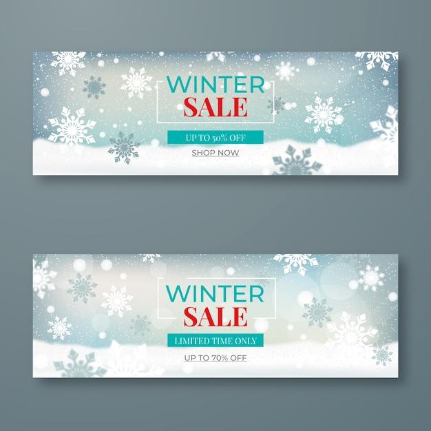Verschwommene winterschlussverkauf banner vorlage Kostenlosen Vektoren
