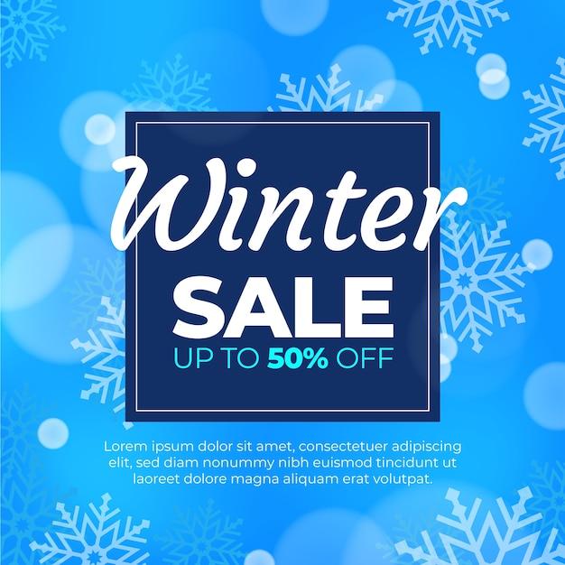 Verschwommene winterschlussverkauf mit sonderangebot Kostenlosen Vektoren