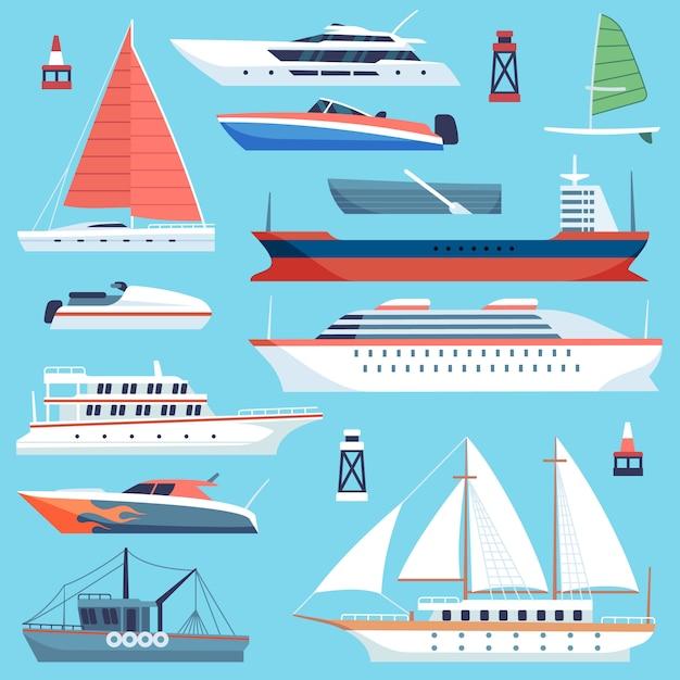 Versendet boote. seetransport, ozeankreuzfahrtschiff, yacht mit segel. großes frachtschiff für schiffe Premium Vektoren