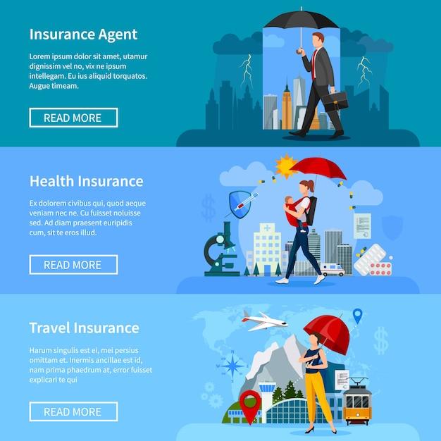 Versicherung banner eingestellt Premium Vektoren