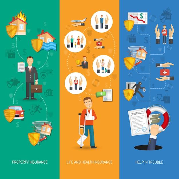 Versicherung banner vertikal Kostenlosen Vektoren