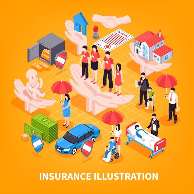 Versicherungs-isometrische vektor-illustration Kostenlosen Vektoren