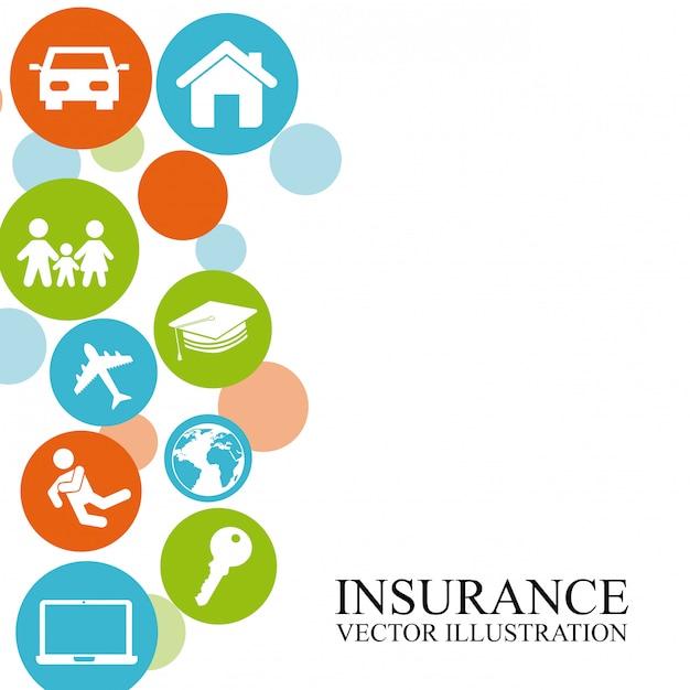 Versicherungsdesign über weißer hintergrundvektorillustration Premium Vektoren