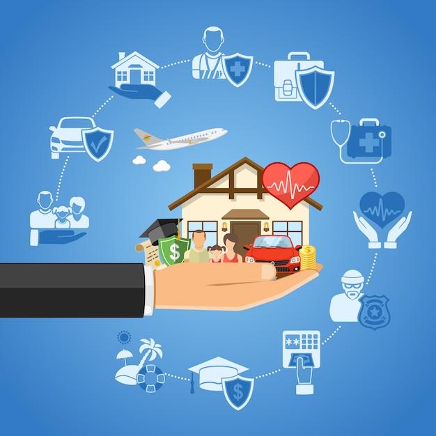 Versicherungsdienstleistungen konzept Premium Vektoren