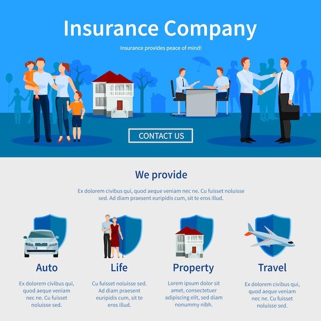 Versicherungsgesellschaft eine seite website Kostenlosen Vektoren