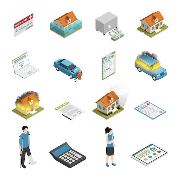 Versicherungspolice isometrische elemente festgelegt Kostenlosen Vektoren