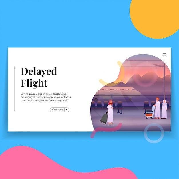 Verspäteter flug in der flughafen-landing page-vorlage Premium Vektoren