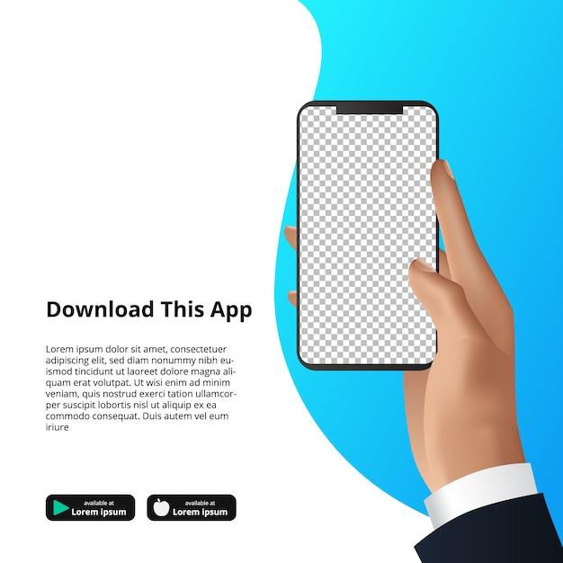 Verspotten sie die hand, die smarthphone app für download-software hält. Premium Vektoren