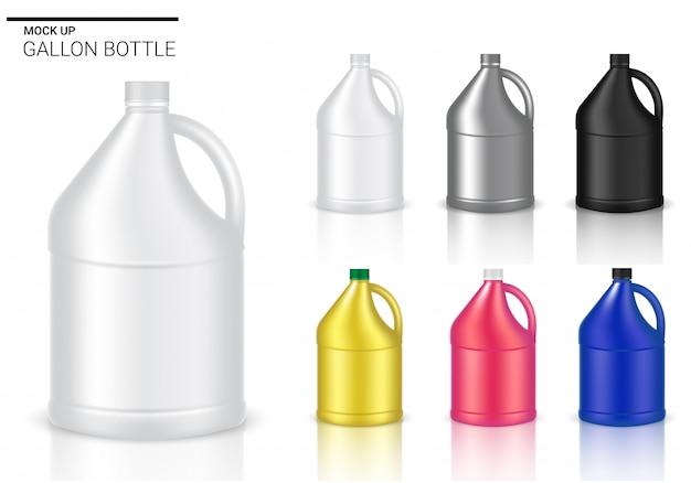 Verspotten sie herauf flaschen-realistisches plastikgallonen-verpackungsprodukt für chemische lösung oder milchflasche lokalisierten hintergrund. Premium Vektoren