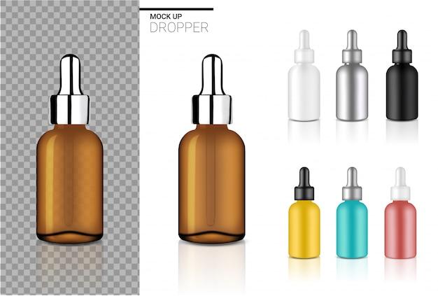 Verspotten sie herauf realistische tropfflaschen-kosmetik-gesetzte schablone für öl oder parfüm auf weißem hintergrund. Premium Vektoren