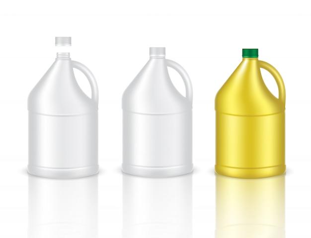 Verspotten sie realistische plastikflasche gallonenverpackungsprodukt Premium Vektoren