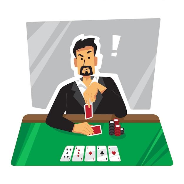 Verspottende pokerspielerillustration Premium Vektoren