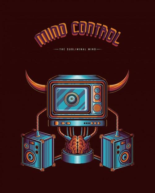 Verstand kontrolliert durch das medienvektor-illustrationskonzept Premium Vektoren
