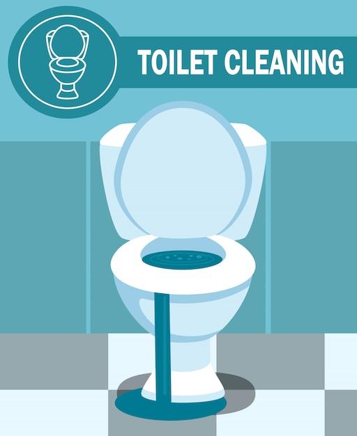 Verstopfte toilettenschüssel-leckage-vektor-illustration Premium Vektoren