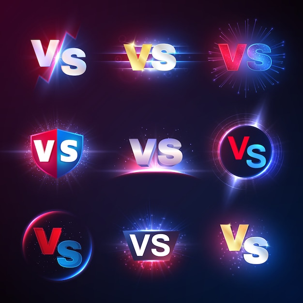Versus embleme. vs mma wettbewerb, kampf konfrontation wettbewerb Premium Vektoren