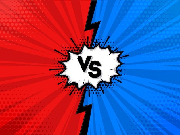 Versus oder vs briefgestaltung im comic-stil Premium Vektoren