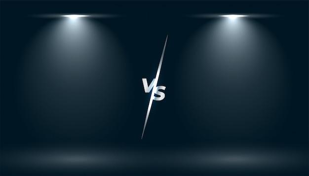 Versus vs bildschirm mit zwei fokuslichteffekten Kostenlosen Vektoren