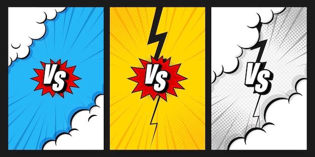 Versus vs buchstaben bekämpfen vertikale hintergründe, die im flachen comic-stildesign mit halbton, blitz gesetzt werden. vektorillustration. vorlage für social media-geschichten. Premium Vektoren