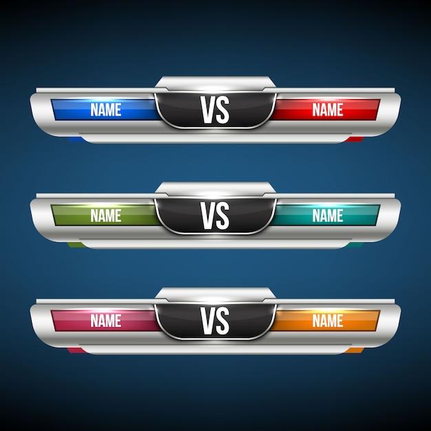 Versus vs-team festgelegt. Premium Vektoren