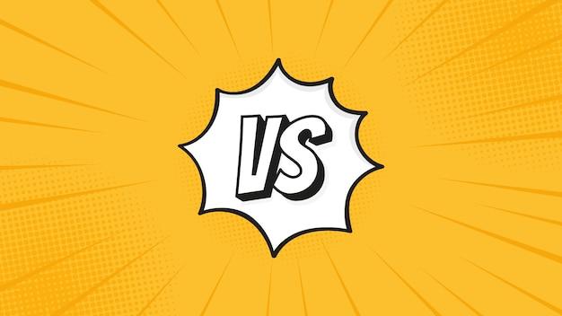 Versus vs zeichen lokalisiert auf kampfhintergründen im flachen comic-stildesign mit halbton, blitz für kampf, sport, wettbewerb, wettbewerb, match-spiel. Premium Vektoren