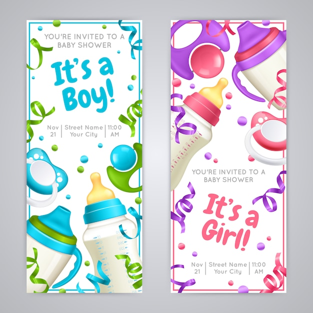 Vertikale banner der babyparty Premium Vektoren
