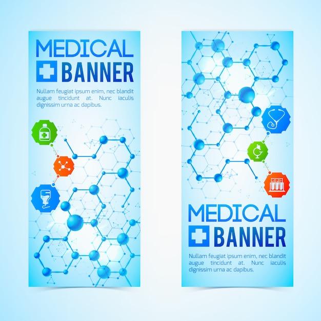 Vertikale banner der medizin und der hilfe, die mit realistischer isolierter illustration der gesundheitssymbole eingestellt werden Kostenlosen Vektoren