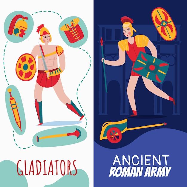 Vertikale banner des alten romimperiums, die mit kriegern gesetzt werden Kostenlosen Vektoren