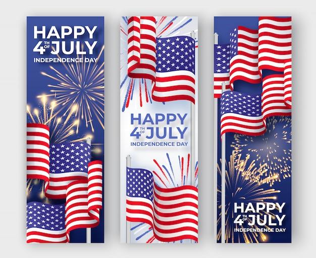Vertikale banner mit amerikanischen nationalflaggen und feuerwerk winken Premium Vektoren