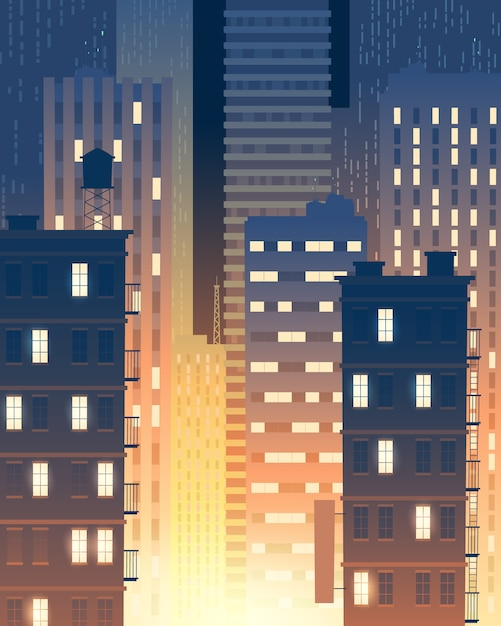Vertikale darstellung von modernen gebäuden in der nacht, lichter von windows. Kostenlosen Vektoren
