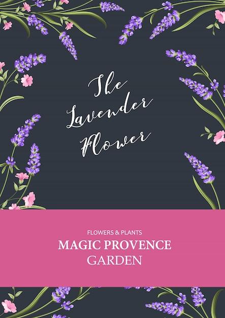 Vertikale einladungskarte. vertikale mit blumenschablone des designs mit blauem rahmen von blühenden blumen. Premium Vektoren