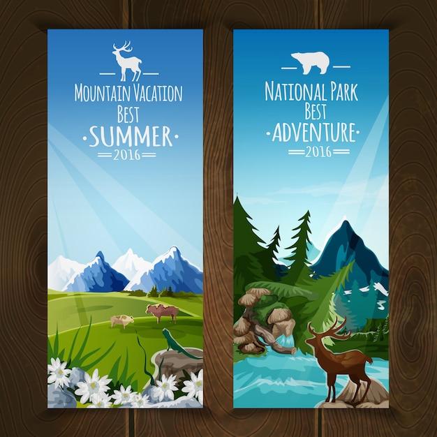 Vertikale fahne der landschaft eingestellt mit nationalpark-gebirgszugillustration Kostenlosen Vektoren
