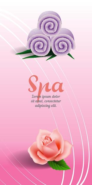 Vertikale fahne des badekurortes mit rose und flieder rollte tuch auf rosa hintergrund. Kostenlosen Vektoren