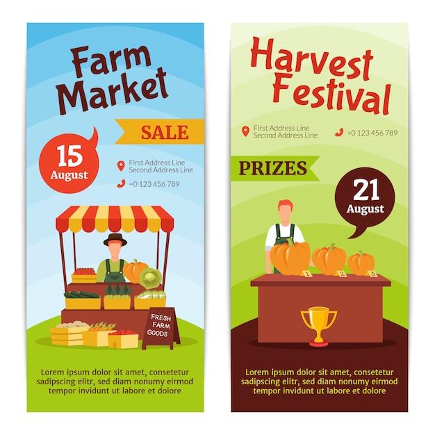 Vertikale fahnen des flachen designs, die august-bauernhofmarktverkauf darstellen Kostenlosen Vektoren