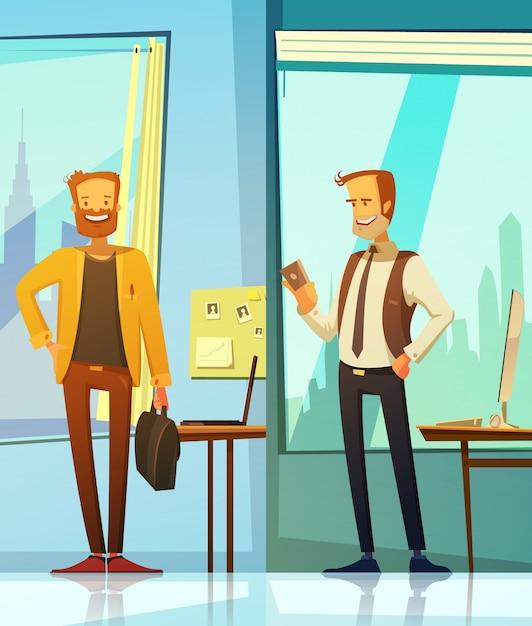 Vertikale fahnen in der karikaturart mit bildern von den lächelnden geschäftsmännern lokalisiert Kostenlosen Vektoren