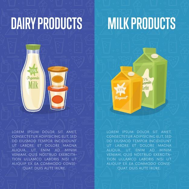 Vertikale fahnenschablonen der milchprodukte mit raum für text Premium Vektoren