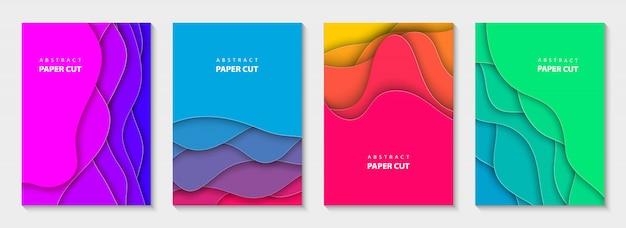 Vertikale flyer lebendige farben papierschnitt formen. Premium Vektoren