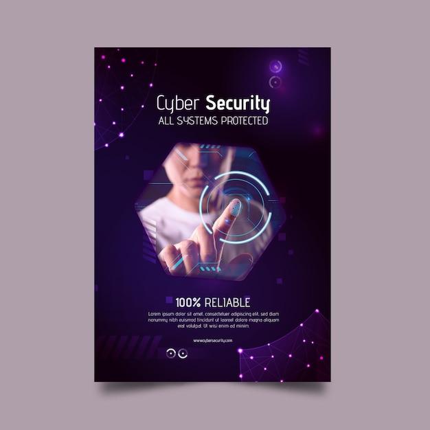 Vertikale flyer-vorlage für cybersicherheit Kostenlosen Vektoren