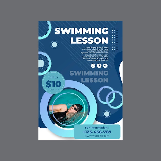 Vertikale flyer-vorlage für schwimmstunden Kostenlosen Vektoren