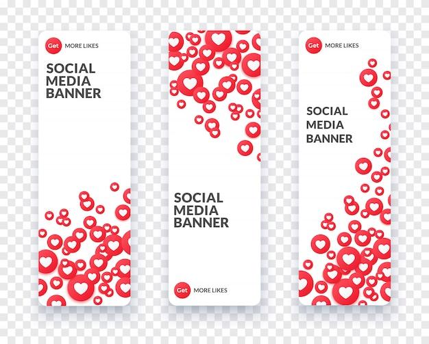 Vertikale herz-social-media-banner für streaming, chat und videochat festgelegt. wie symbol und herz-symbol und banner im flachen stil mit schatten. illustration. Premium Vektoren