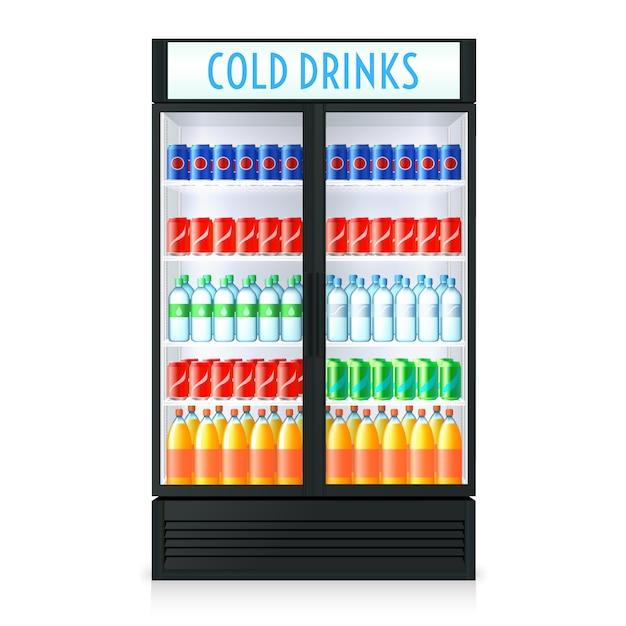 Vertikale kühlschrankschablone mit transparentem glas cola und anderen getränken im inneren der geschlossenen tür Kostenlosen Vektoren