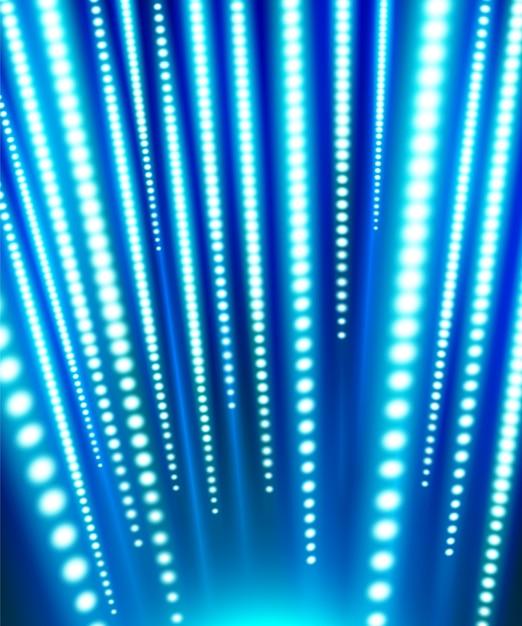 Vertikale led-lichtstreifen, die blau und weiß leuchten und unter dem dunkelblau blenden Premium Vektoren