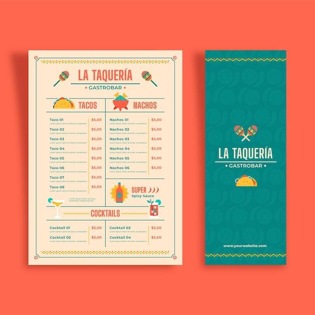 Vertikale menüvorlage für mexikanisches essen Premium Vektoren