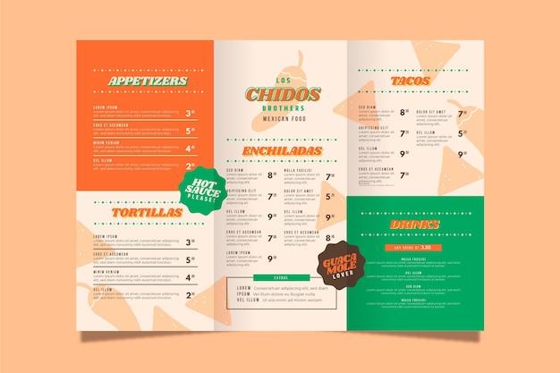 Vertikale menüvorlage für mexikanisches restaurant Kostenlosen Vektoren